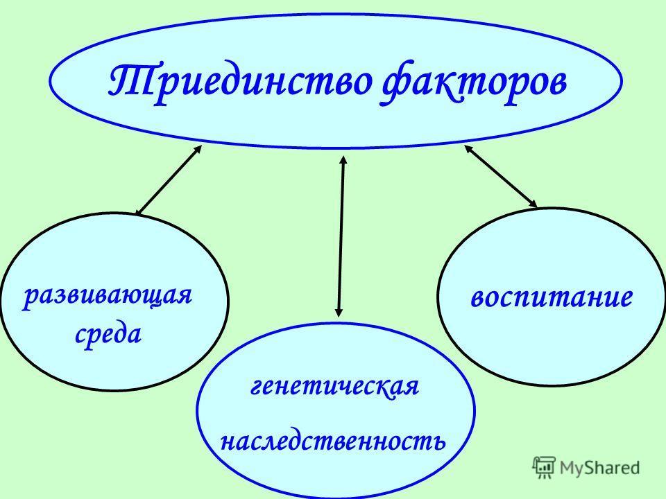 Триединство факторов генетическая наследственность воспитание развивающая среда