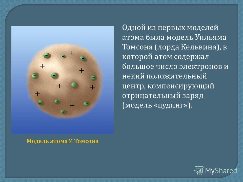 Одной из первых моделей атома была модель Уильяма Томсона (лорда Кельвина), в которой атом содержал большое число электронов и некий положительный центр, компенсирующий отрицательный заряд (модель «пудинг»). Модель атома У. Томсона