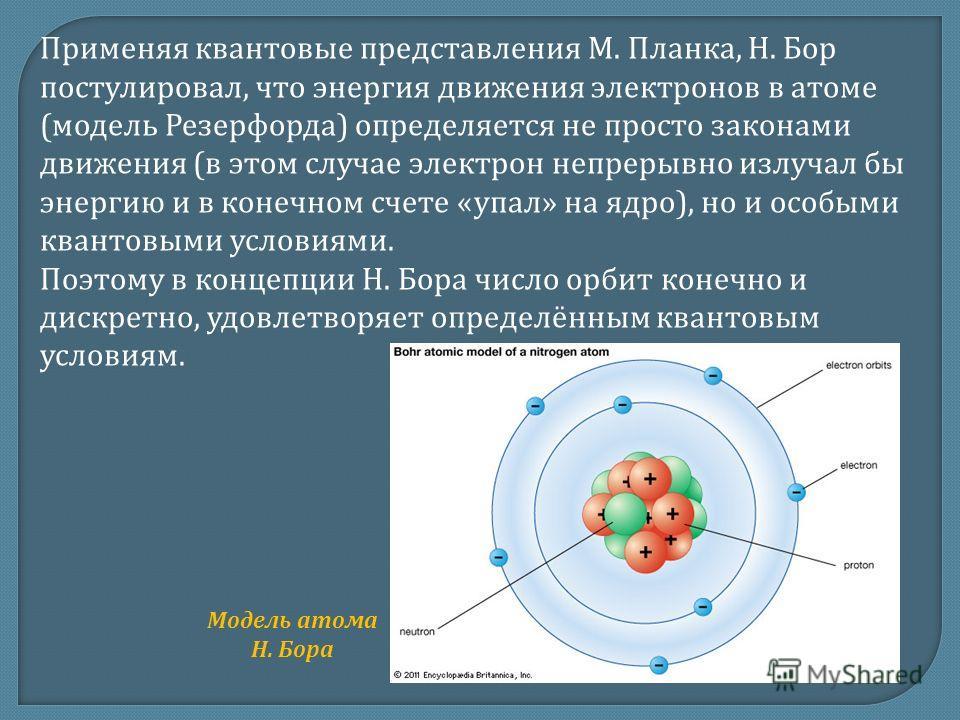 Применяя квантовые представления М. Планка, Н. Бор постулировал, что энергия движения электронов в атоме (модель Резерфорда) определяется не просто законами движения (в этом случае электрон непрерывно излучал бы энергию и в конечном счете «упал» на я