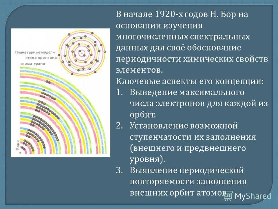 В начале 1920- х годов Н. Бор на основании изучения многочисленных спектральных данных дал своё обоснование периодичности химических свойств элементов. Ключевые аспекты его концепции : 1. Выведение максимального числа электронов для каждой из орбит.