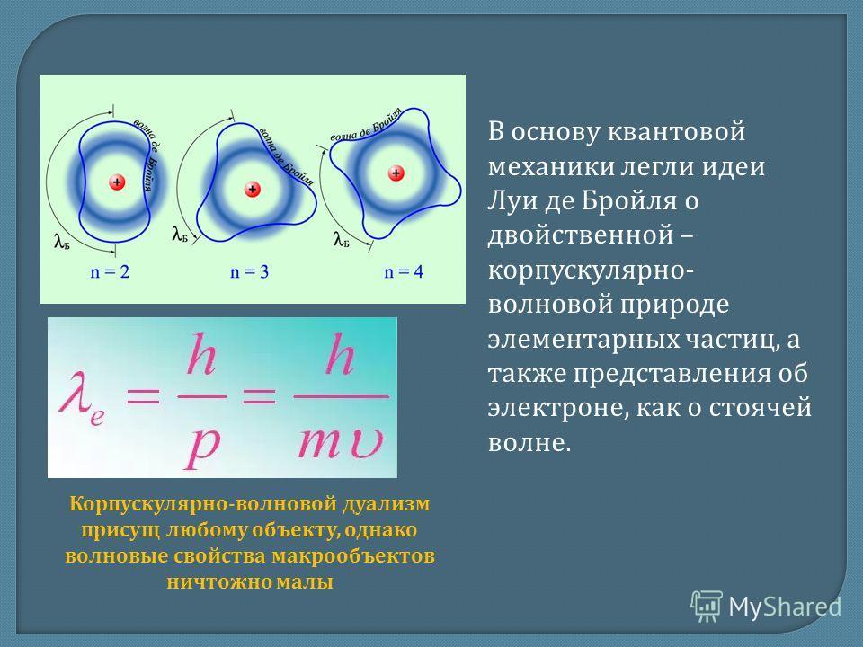 В основу квантовой механики легли идеи Луи де Бройля о двойственной – корпускулярно- волновой природе элементарных частиц, а также представления об электроне, как о стоячей волне. Корпускулярно-волновой дуализм присущ любому объекту, однако волновые