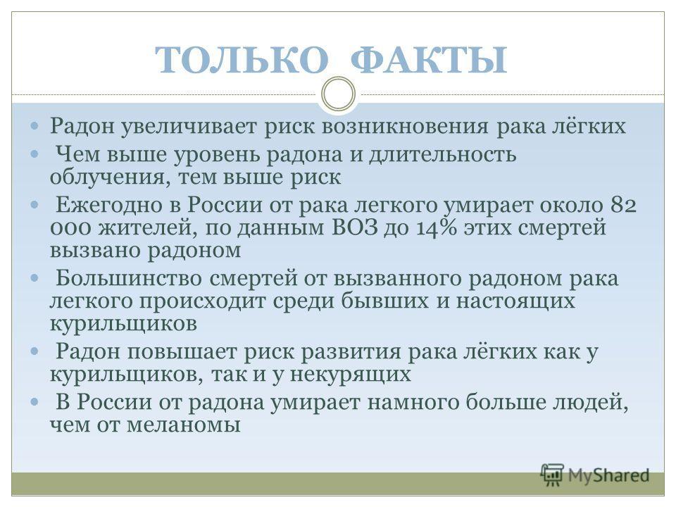 ТОЛЬКО ФАКТЫ Радон увеличивает риск возникновения рака лёгких Чем выше уровень радона и длительность облучения, тем выше риск Ежегодно в России от рака легкого умирает около 82 000 жителей, по данным ВОЗ до 14% этих смертей вызвано радоном Большинств