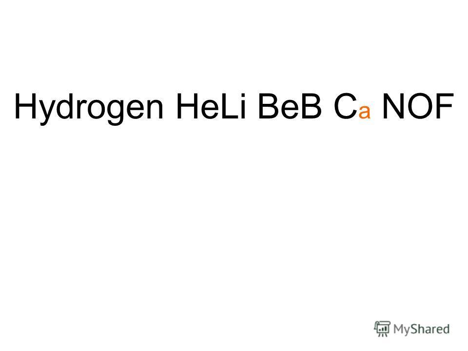 Hydrogen HeLi BeB C a NOF