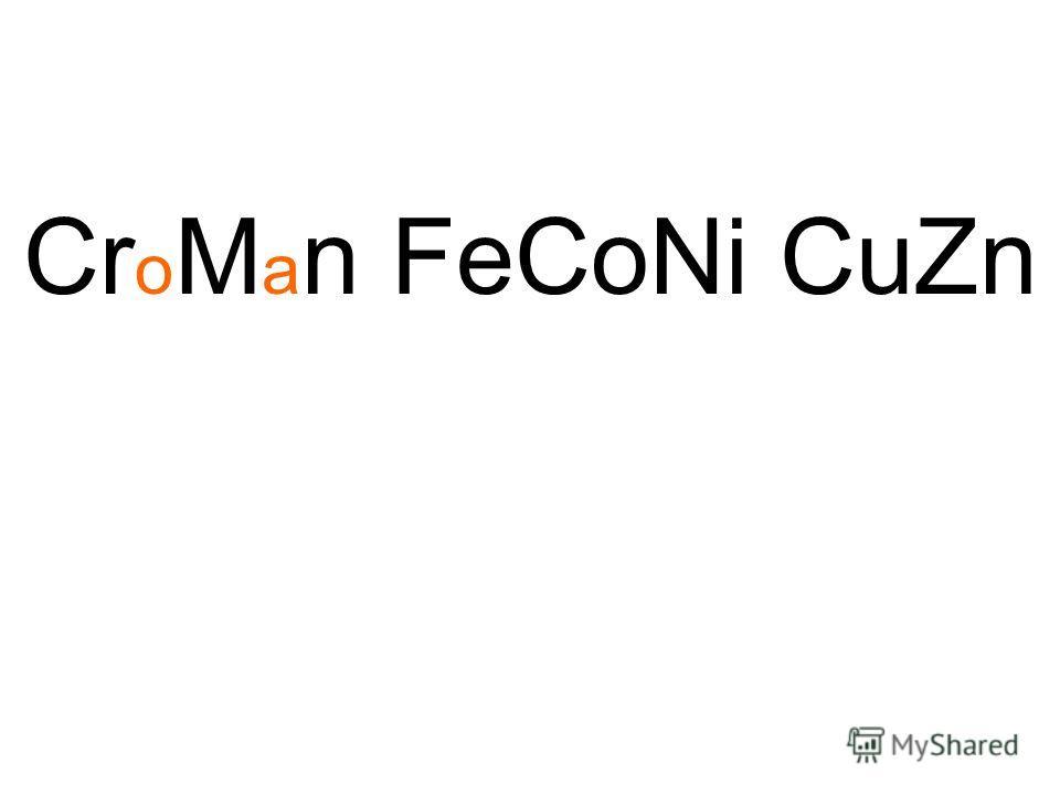 Cr o M a n FeCoNi CuZn