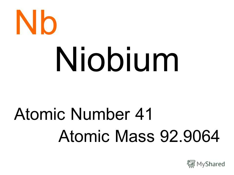 Nb Niobium Atomic Number 41 Atomic Mass 92.9064