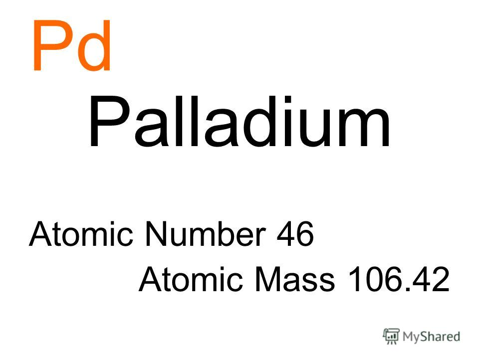Pd Palladium Atomic Number 46 Atomic Mass 106.42