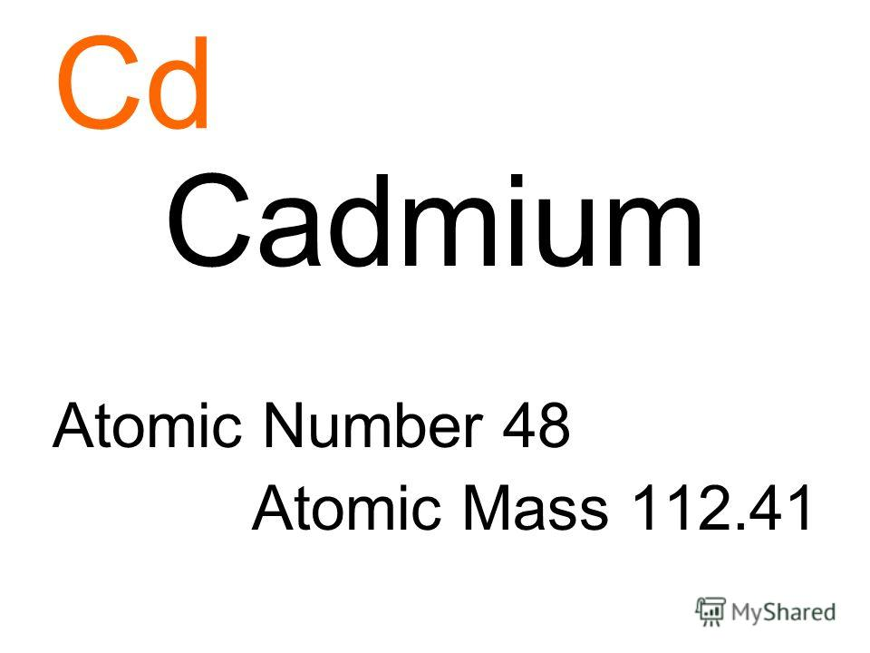 Cd Cadmium Atomic Number 48 Atomic Mass 112.41