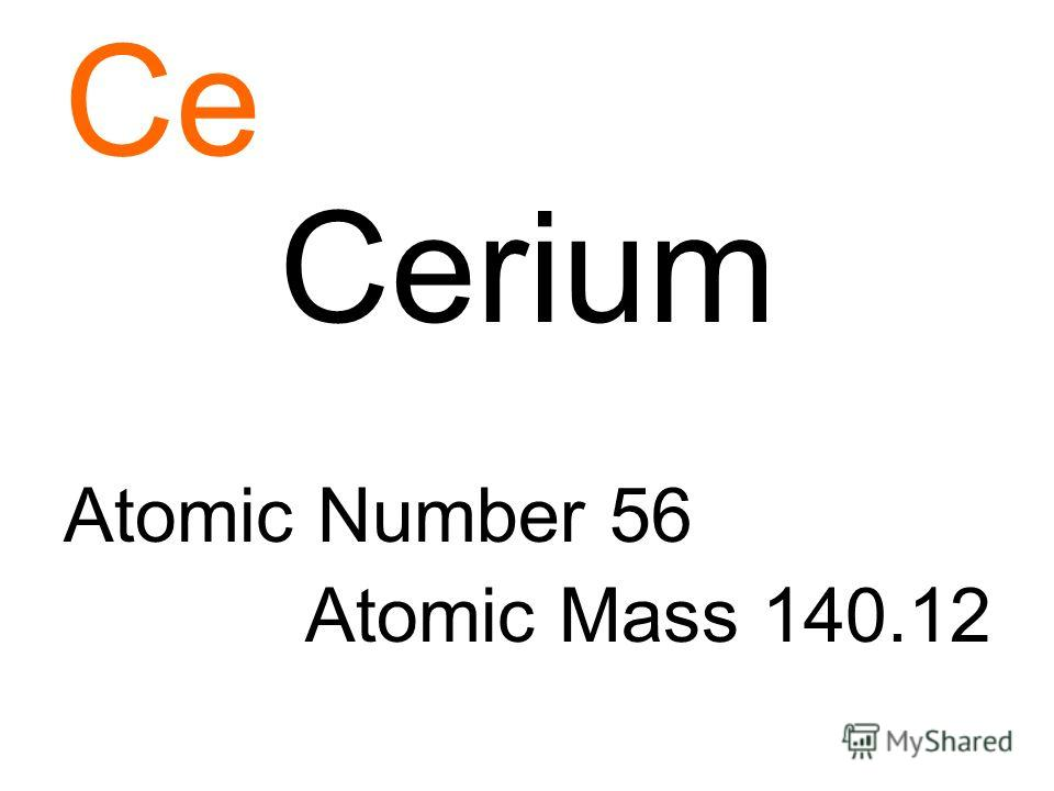 Ce Cerium Atomic Number 56 Atomic Mass 140.12