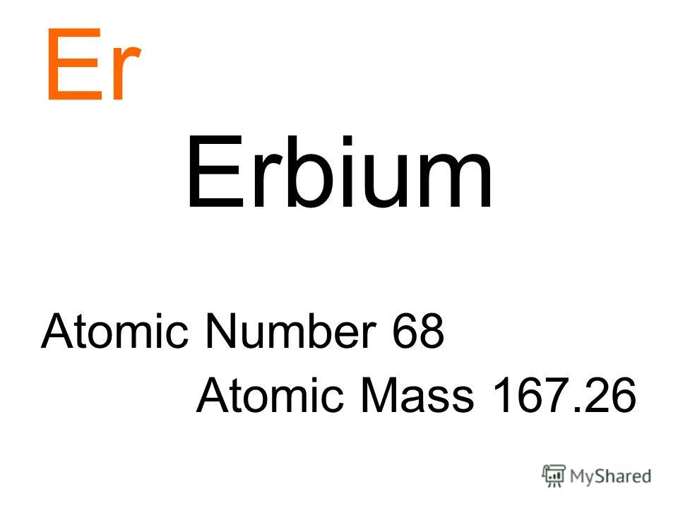 Er Erbium Atomic Number 68 Atomic Mass 167.26