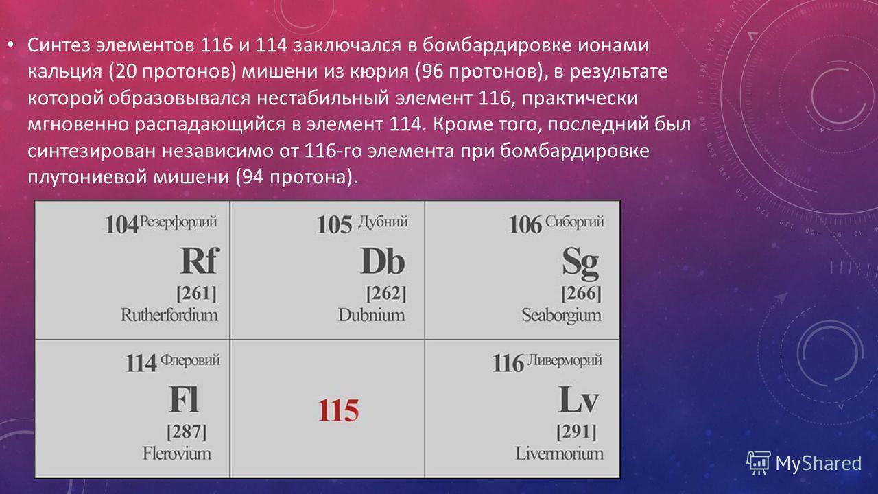 Синтез элементов 116 и 114 заключался в бомбардировке ионами кальция (20 протонов) мишени из кюрия (96 протонов), в результате которой образовывался нестабильный элемент 116, практически мгновенно распадающийся в элемент 114. Кроме того, последний бы