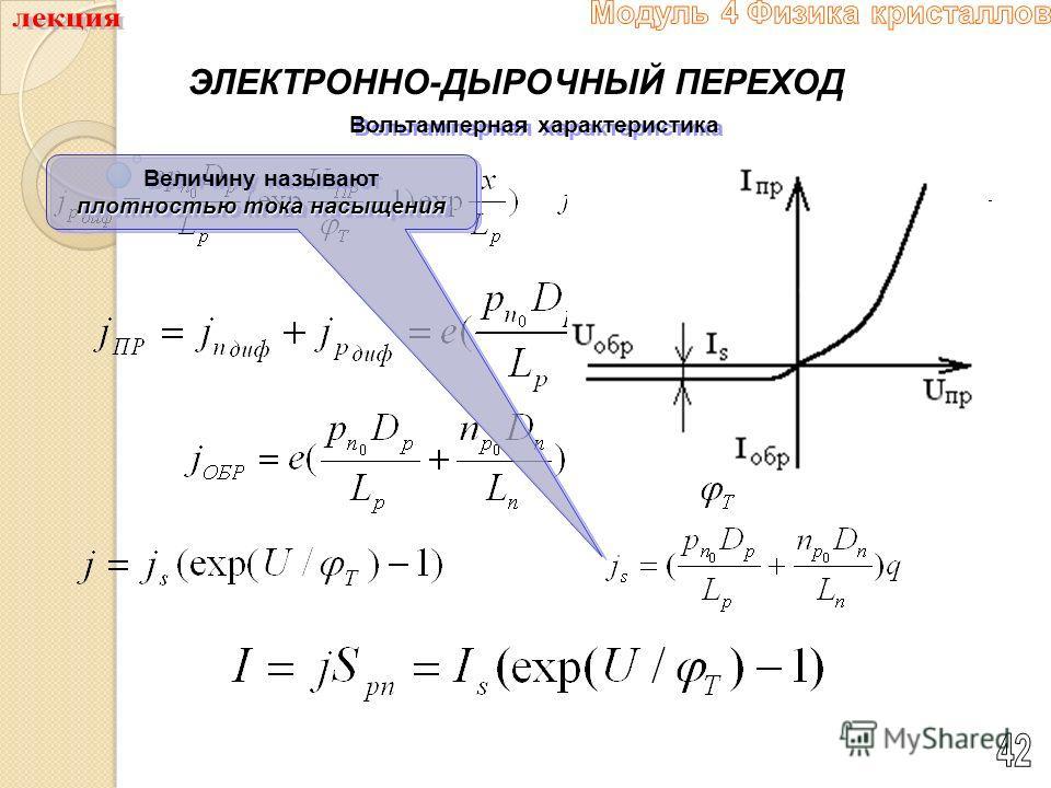 ЭЛЕКТРОННО-ДЫРОЧНЫЙ ПЕРЕХОД Вольтамперная характеристика плотностью тока насыщения Величину называют плотностью тока насыщения