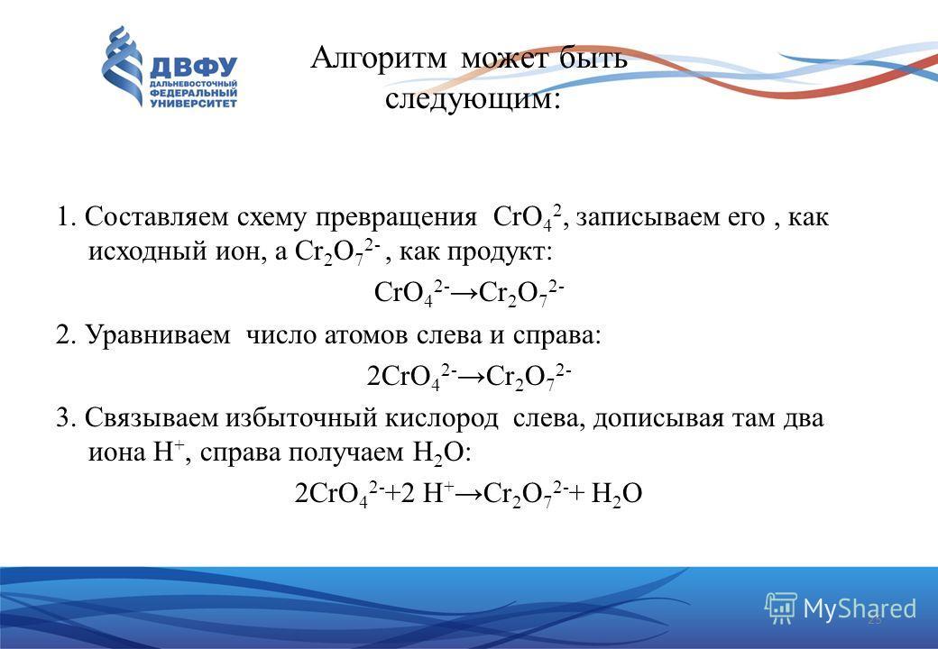Алгоритм может быть следующим: 1. Составляем схему превращения CrO 4 2, записываем его, как исходный ион, а Cr 2 O 7 2-, как продукт: CrO 4 2-Cr 2 O 7 2- 2. Уравниваем число атомов слева и справа: 2CrO 4 2-Cr 2 O 7 2- 3. Связываем избыточный кислород