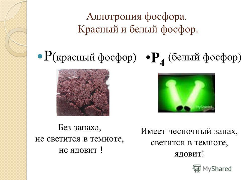 Аллотропия фосфора. Красный и белый фосфор. Р ( красный фосфор) (белый фосфор) Р 4 Без запаха, не светится в темноте, не ядовит ! Имеет чесночный запах, светится в темноте, ядовит!