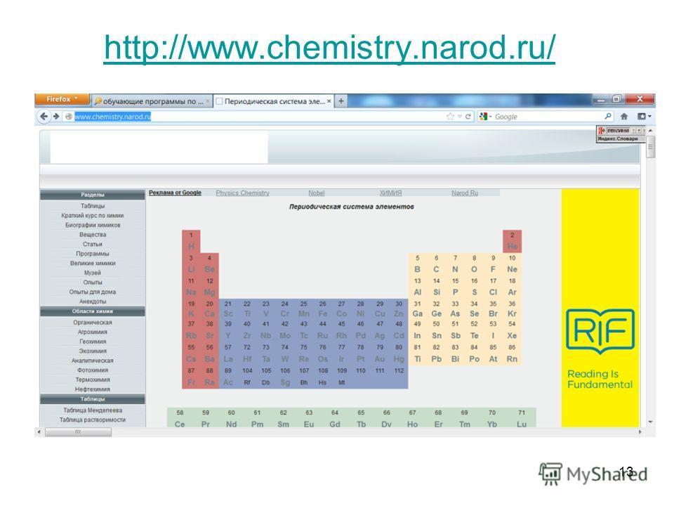 13 http://www.chemistry.narod.ru/