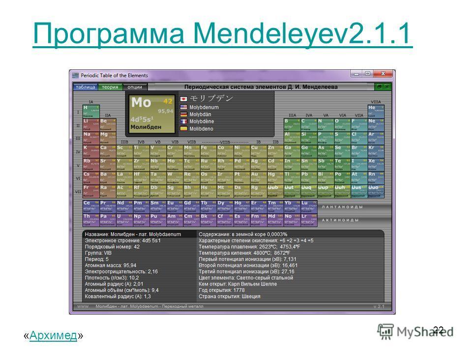 Программа Mendeleyev2.1.1 22 «Архимед»Архимед