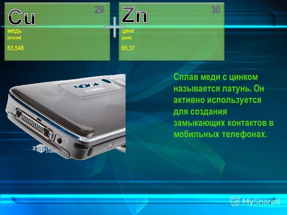 [цинк] 65,37 30 цинк медь [купрум] 63,548 29 Сплав меди с цинком называется латунь. Он активно используется для создания замыкающих контактов в мобильных телефонах.