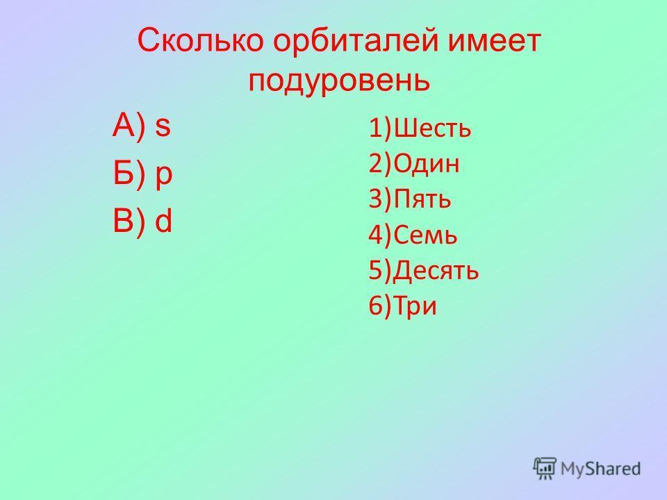Сколько орбиталей имеет подуровень А) s Б) р В) d 1)Шесть 2)Один 3)Пять 4)Семь 5)Десять 6)Три