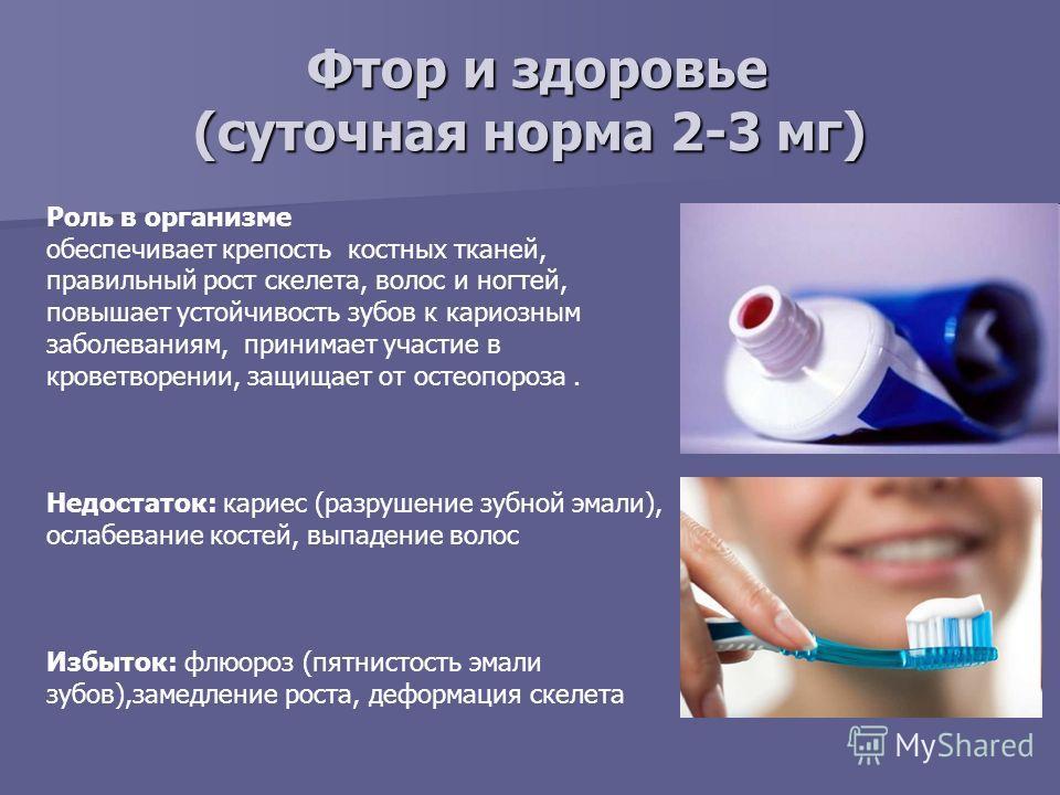 Фтор и здоровье (суточная норма 2-3 мг) Фтор и здоровье (суточная норма 2-3 мг) Роль в организме обеспечивает крепость костных тканей, правильный рост скелета, волос и ногтей, повышает устойчивость зубов к кариозным заболеваниям, принимает участие в