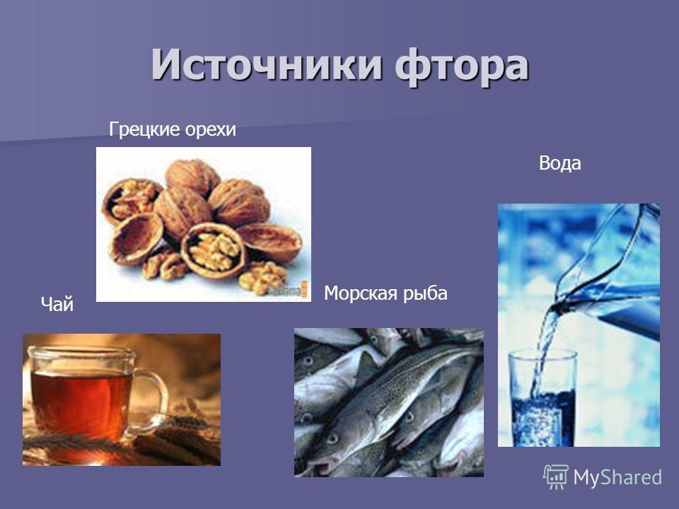 Источники фтора Вода Морская рыба Грецкие орехи Чай