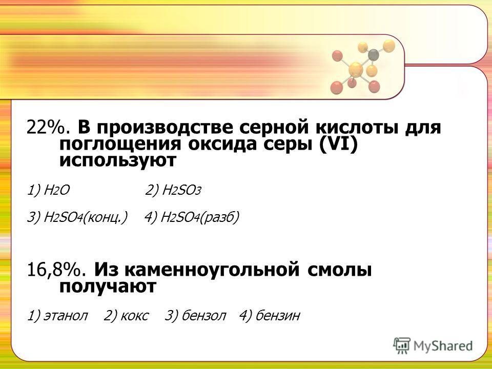 22%. В производстве серной кислоты для поглощения оксида серы (VI) используют 1) Н 2 О 2) H 2 SO 3 3) Н 2 SО 4 (конц.) 4) Н 2 SО 4 (разб) 16,8%. Из каменноугольной смолы получают 1) этанол 2) кокс 3) бензол 4) бензин