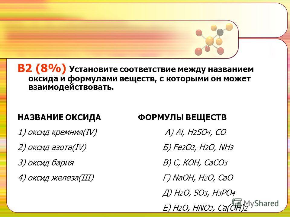 B2 (8%) Установите соответствие между названием оксида и формулами веществ, с которыми он может взаимодействовать. НАЗВАНИЕ ОКСИДА ФОРМУЛЫ ВЕЩЕСТВ 1) оксид кремния(IV) А) Al, H 2 SO 4, CO 2) оксид азота(IV) Б) Fe 2 O 3, H 2 O, NH 3 3) оксид бария В)