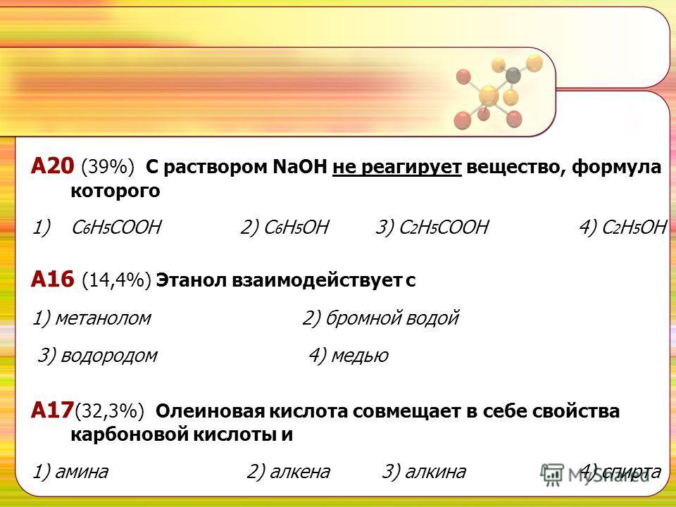 А20 (39%) С раствором NaOH не реагирует вещество, формула которого 1)С 6 Н 5 СООН 2) С 6 Н 5 ОН 3) С 2 Н 5 СООН 4) С 2 Н 5 ОН А16 (14,4%) Этанол взаимодействует с 1) метанолом 2) бромной водой 3) водородом 4) медью А17 (32,3%) Олеиновая кислота совме