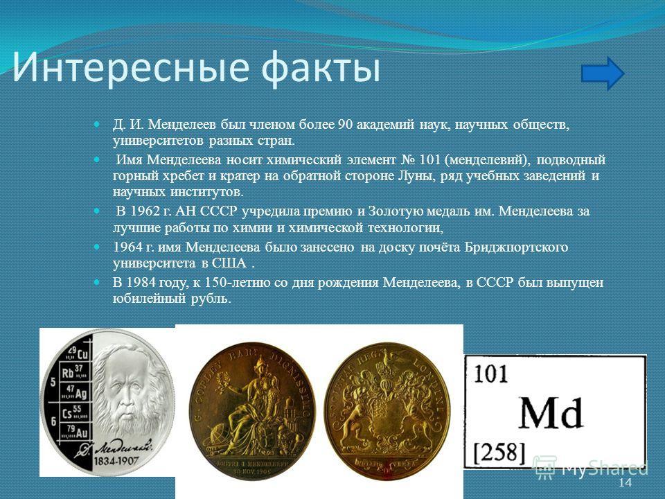 Интересные факты Д. И. Менделеев был членом более 90 академий наук, научных обществ, университетов разных стран. Имя Менделеева носит химический элемент 101 (менделевий), подводный горный хребет и кратер на обратной стороне Луны, ряд учебных заведени