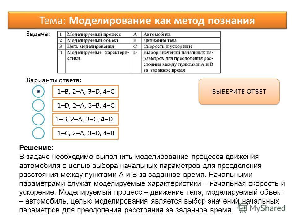 Варианты ответа: Задача: 1–B, 2–A, 3–D, 4–C 1–D, 2–A, 3–B, 4–C 1–B, 2–A, 3–C, 4–D 1–C, 2–A, 3–D, 4–B ВЫБЕРИТЕ ОТВЕТ Тема: Моделирование как метод познания Решение: В задаче необходимо выполнить моделирование процесса движения автомобиля с целью выбор