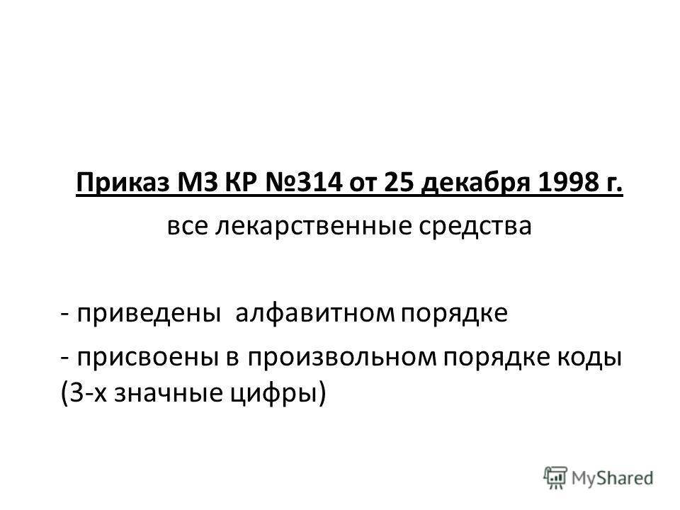 Приказ МЗ КР 314 от 25 декабря 1998 г. все лекарственные средства - приведены алфавитном порядке - присвоены в произвольном порядке коды (3-х значные цифры)
