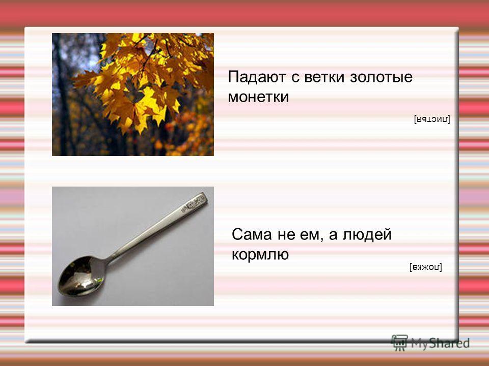 Падают с ветки золотые монетки [листья] Сама не ем, а людей кормлю [ложка]