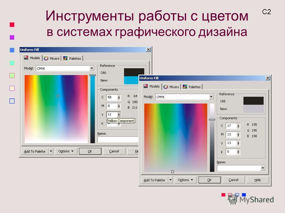 Инструменты работы с цветом в системах графического дизайна С2