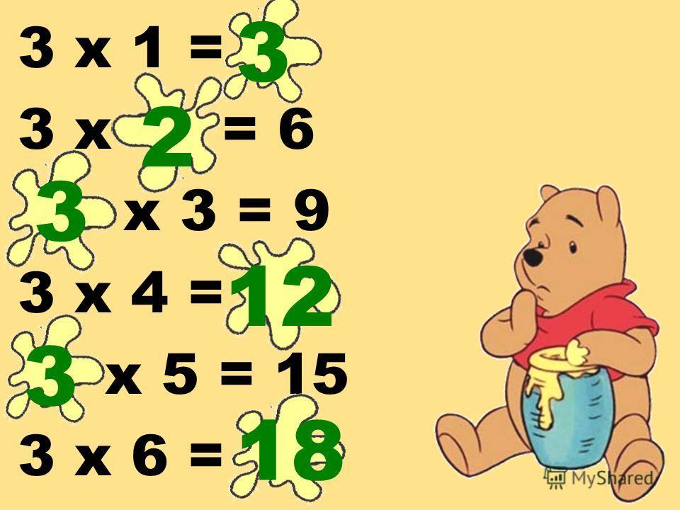 3 х 1 = 3 х = 6 х 3 = 9 3 х 4 = х 5 = 15 3 х 6 = 3 2 3 12 3 18