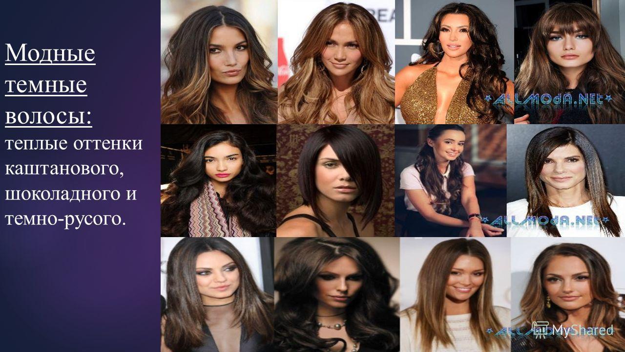 Модные темные волосы: теплые оттенки каштанового, шоколадного и темно-русого.