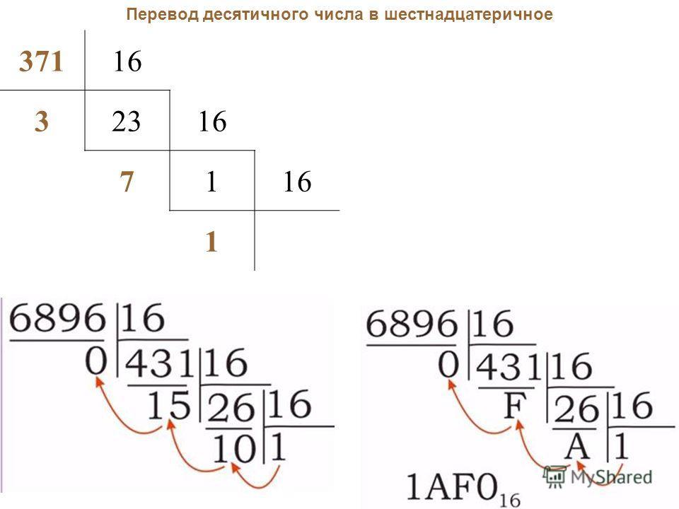 Перевод десятичного числа в шестнадцатеричное 37116 32316 71 1