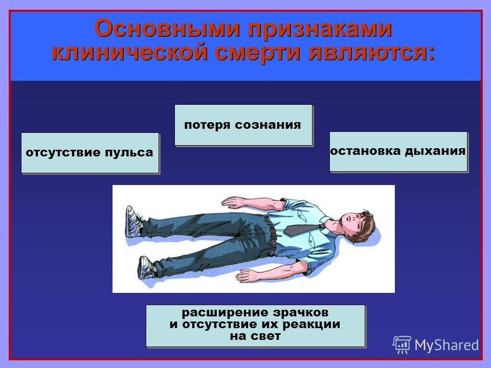 Основными признаками клинической смерти являются: потеря сознания остановка дыхания отсутствие пульса расширение зрачков и отсутствие их реакции на свет