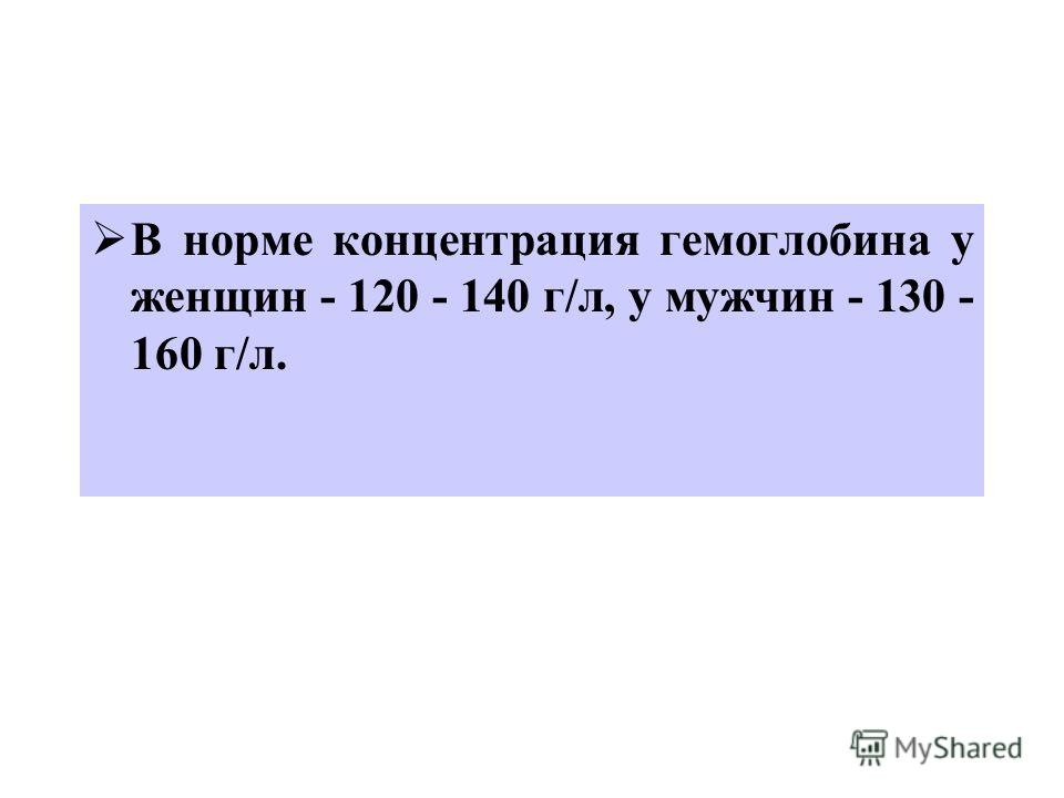 В норме концентрация гемоглобина у женщин - 120 - 140 г/л, у мужчин - 130 - 160 г/л.