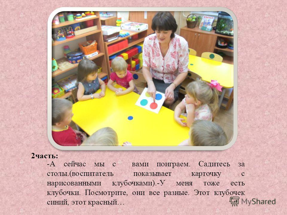 2 часть: -А сейчас мы с вами поиграем. Садитесь за столы.(воспитатель показывает карточку с нарисованными клубочками).-У меня тоже есть клубочки. Посмотрите, они все разные. Этот клубочек синий, этот красный…