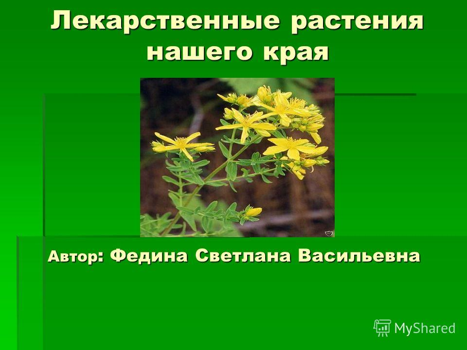 Лекарственные растения нашего края Лекарственные растения нашего края Автор : Федина Светлана Васильевна
