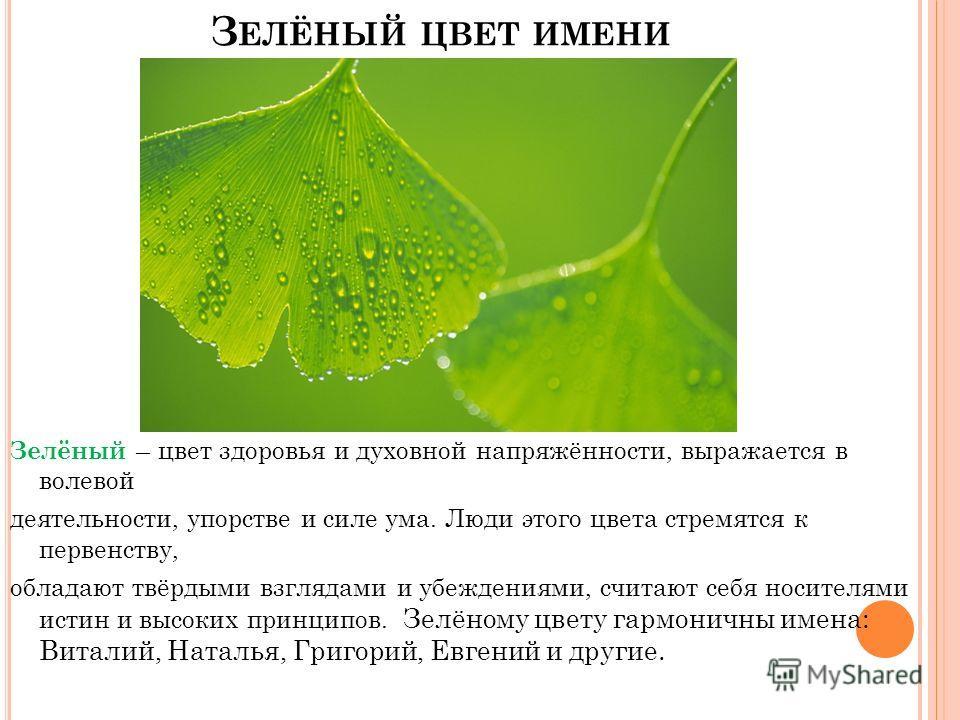 З ЕЛЁНЫЙ ЦВЕТ ИМЕНИ Зелёный – цвет здоровья и духовной напряжённости, выражается в волевой деятельности, упорстве и силе ума. Люди этого цвета стремятся к первенству, обладают твёрдыми взглядами и убеждениями, считают себя носителями истин и высоких