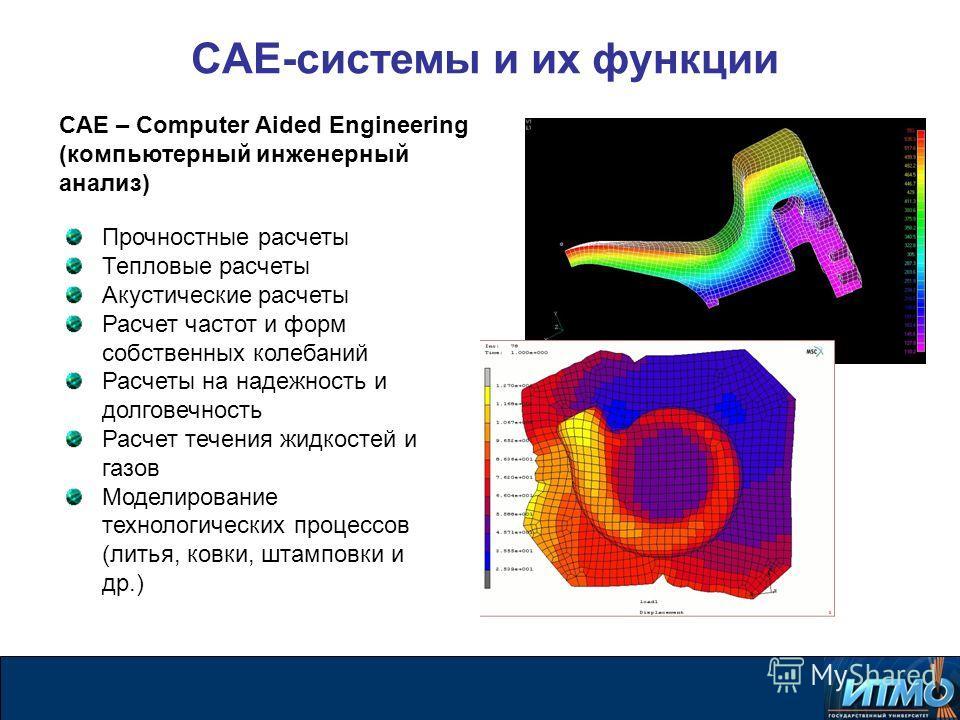 CAE-системы и их функции Прочностные расчеты Тепловые расчеты Акустические расчеты Расчет частот и форм собственных колебаний Расчеты на надежность и долговечность Расчет течения жидкостей и газов Моделирование технологических процессов (литья, ковки