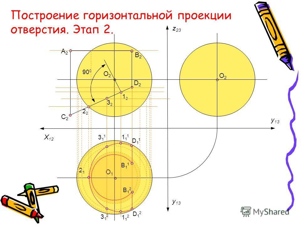 O2O2 O1O1 O2O2 X 12 y 13 z 23 B2B2 А2А2 C2C2 D2D2 2121 90 0 B11B11 B12B12 D11D11 D12D12 311311 312312 111111 112112 2 3232 1212 Построение горизонтальной проекции отверстия. Этап 2.