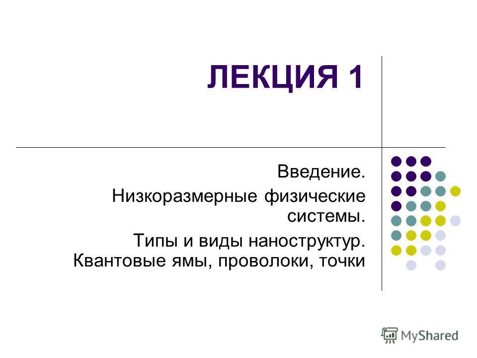 ЛЕКЦИЯ 1 Введение. Низкоразмерные физические системы. Типы и виды наноструктур. Квантовые ямы, проволоки, точки