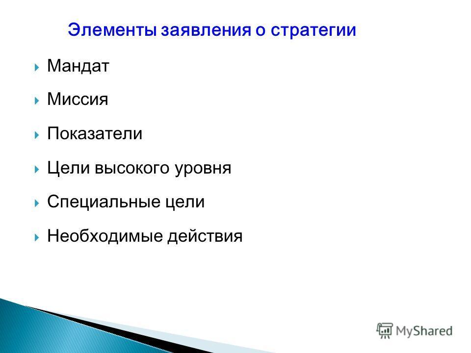 Мандат Миссия Показатели Цели высокого уровня Специальные цели Необходимые действия Элементы заявления о стратегии