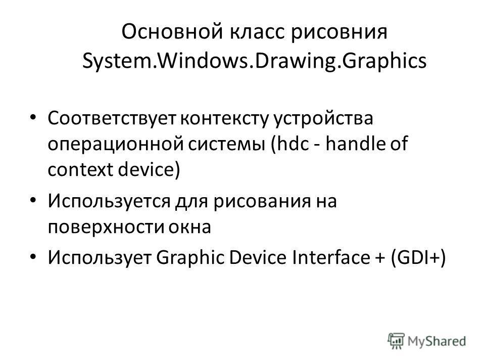 Основной класс рисовния System.Windows.Drawing.Graphics Соответствует контексту устройства операционной системы (hdc - handle of context device) Используется для рисования на поверхности окна Использует Graphic Device Interface + (GDI+)
