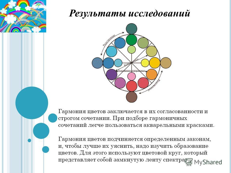 Результаты исследований Гармония цветов заключается в их согласованности и строгом сочетании. При подборе гармоничных сочетаний легче пользоваться акварельными красками. Гармония цветов подчиняется определенным законам, и, чтобы лучше их уяснить, над