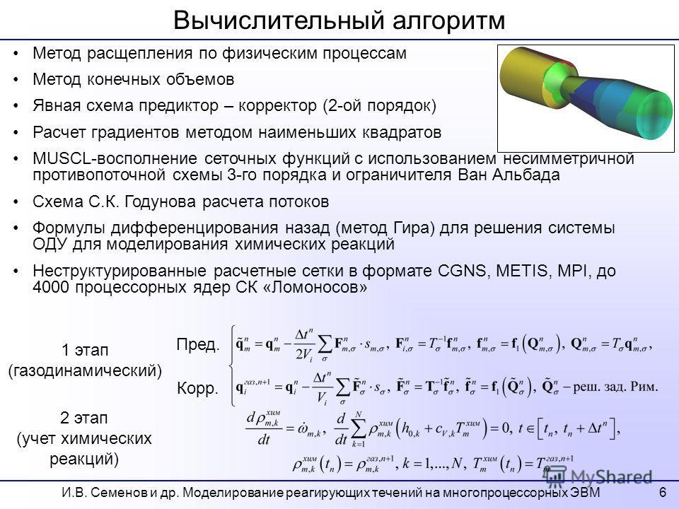 Вычислительный алгоритм Метод расщепления по физическим процессам Метод конечных объемов Явная схема предиктор – корректор (2-ой порядок) Расчет градиентов методом наименьших квадратов MUSCL-восполнение сеточных функций с использованием несимметрично