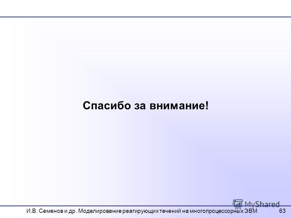 63 Спасибо за внимание! И.В. Семенов и др. Моделирование реагирующих течений на многопроцессорных ЭВМ