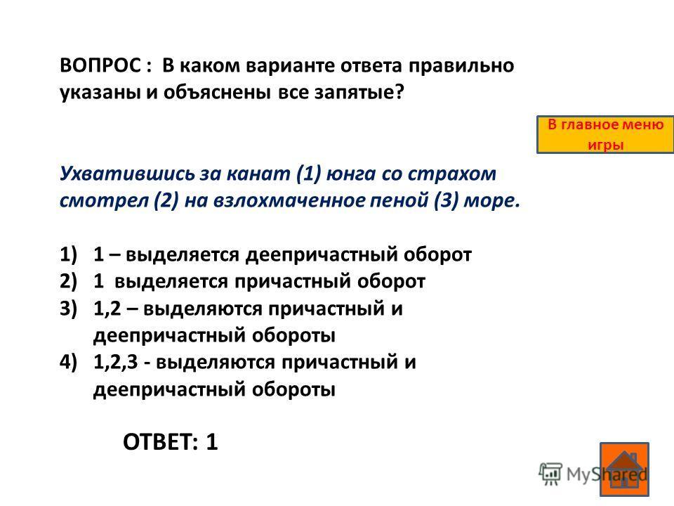 ВОПРОС : В каком варианте ответа правильно указаны и объяснены все запятые? Ухватившись за канат (1) юнга со страхом смотрел (2) на взлохмаченное пеной (3) море. 1)1 – выделяется деепричастный оборот 2)1 выделяется причастный оборот 3)1,2 – выделяютс