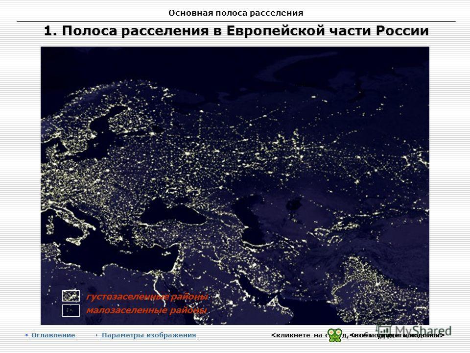 Основная полоса расселения 1. Полоса расселения в Европейской части России Оглавление Оглавление Параметры изображения Параметры изображения густозаселенные районы степь малозаселенные районы