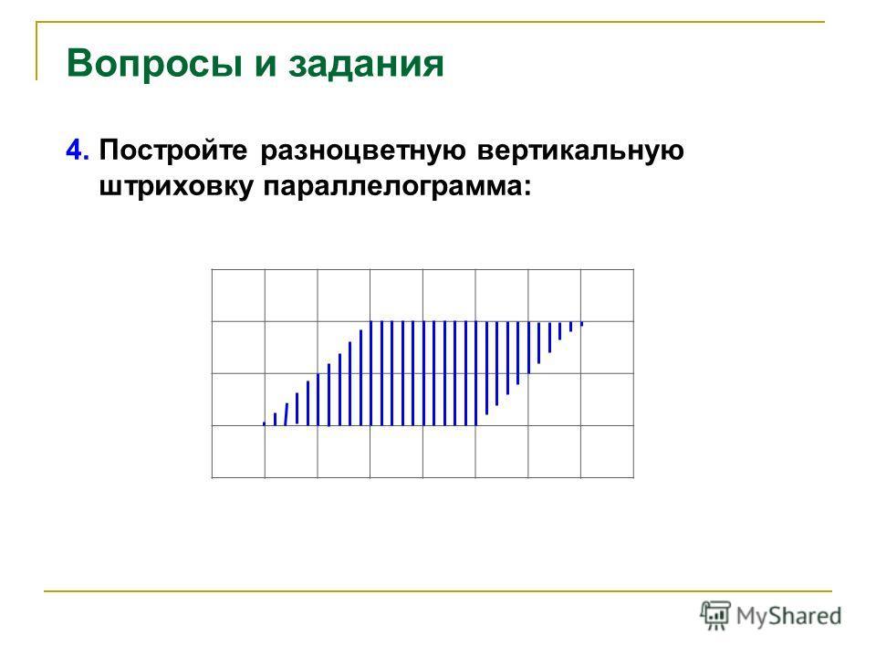 Вопросы и задания 4. Постройте разноцветную вертикальную штриховку параллелограмма: